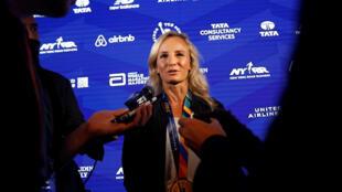 Winner of the 2017 New York City Marathon Women's race Shalane Flanagan of the U.S. speaks to reporters in New York City, in New York, U.S. November 6, 2017