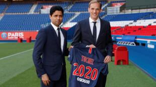 Thomas Tuchel (right) was named head coach of Paris Saint-Germain by the club's president, Nasser Al-Khelaifi, on 20 May 2018.