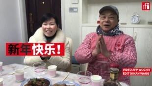 武汉市民王岩红和彭栎鑫(音)