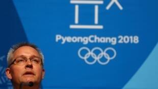Matthieu Reeb, secretário-geral do Tribunal Arbitral do Esporte (TAS), durante coletiva à imprensa nesta quinta-feira (1) em Pyeongchang, Coreia do Sul.