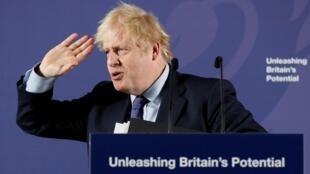 Boris Johnson wakati wa hotuba yake kuhusu hatma ya Uingereza baada ya nchi hiyo kujitoa katika Umoja wa Ulaya huko London, Februari 3, 2020.