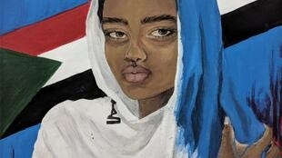 Image drawn by artist in honour of online campaign #BlueforSudan