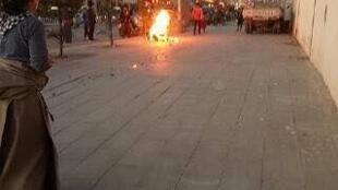 圖為博訊網刊登最新一起藏人自焚現場照片