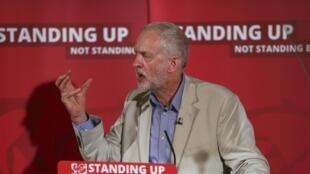 Le leader du parti travailliste britannique, Jeremy Corbyn, lors d'un discours sur l'immigration, le 25 juin 2016.