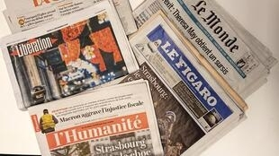 Primeiras páginas dos jornais franceses de 13 de dezembro de 2018