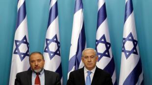 Lieberman e Netanyahu: endurecimento das relações com palestinos é esperada.
