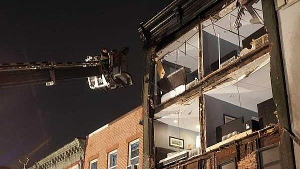 The facade of a building ripped off by Hurricane Sandy