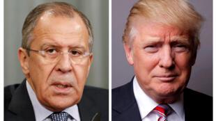 美國總統特朗普被爆向俄羅斯外交部長拉夫羅夫(左)透露反恐情報