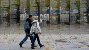 Monument en la mémoire des victimes de l'holocauste à Berlin, en Allemagne, le 9 novembre 2008.