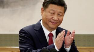 Xi Jinping après son discours de clôture du 19e congrès du parti communiste chinois, le 25 octobre 2017.