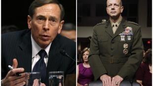 O general David Petraeus (à esq.) e o general John Allen (à dir.)