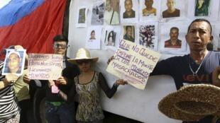 Manifestación en Tumeremo para pedir justicia por la desaparición de los mineros, el pasado 7 de marzo de 2016.
