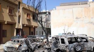 Stigmates des combats dans le quartier d'Abu Salim, à Tripoli, en Libye, le 17 avril 2019.