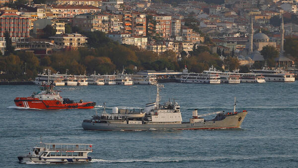 The Bosphorus river is a major shipping route, Istanbul, Turkey.