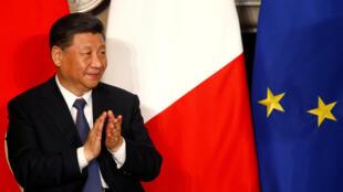图为中国国家主席习近平访问意大利2019年3月23日见证与意大利签定一带一路框架合作协议