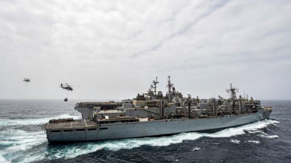 O navio americano USS Boxer no Golfo Pérsico. Imagem da Marinha americana de 14 de julho de 2019.