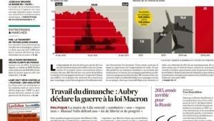 Capa do jornal francês Les Echos desta quinta-feira, 11de dezembro de 2014