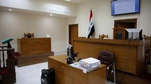 Une salle d'audience du tribunal à Bagdad, le 29 mai 2019, où les jihadistes français accusés d'appartenance à l'État islamique ont été jugés.