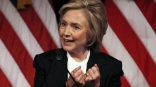 Hillary Clinton, durante seu discurso na New School, em Manhattan