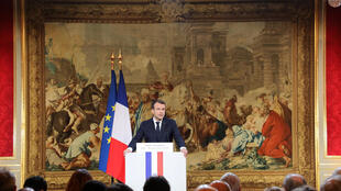 Emmanuel Macron at his New Year Press conference at the Elysée Palace, Wednesday January 3rd, 2018.