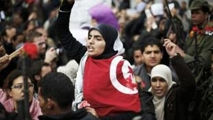 An anti-government protester in Tunis this week