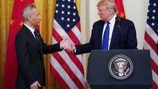 美國總統特朗普與中國副總理劉鶴。