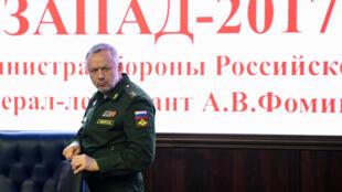 """O vice-ministro russo da Defesa, Alexander Fomine, durante a apresentação das manobras """"Zapad 2017"""", no fim de agosto, em Moscou."""