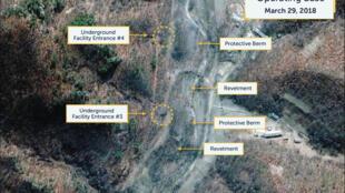 Ảnh vệ tinh của CSIS hôm 29/03/2018 cung cấp cho Reuters ngày 12/11/2018 cho thấy một căn cứ hỏa tiễn bí mật ở Sakkanmol, Bắc Triều Tiên.