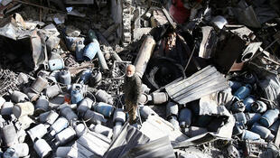 Разрушения после бомбового удара в Восточной Гуте, 26 ноября 2017.