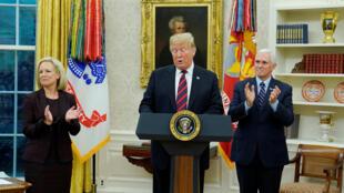 Tổng thống Mỹ Donald Trump phát biểu về di dân và tình trạng shutdown tại Nhà Trắng ngày 19/01/2019.