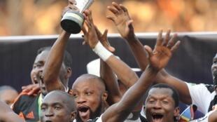 Wachezaji wa TP Mazembe wakisherehekea ushindi wao wa Kombe la Shirikisho Jumapili Novemba 6 huko Lubumbashi.