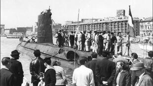 Archive photo of La Minerve,the French military submarine, at the docks of the old Marseilles port in the late 1960s.