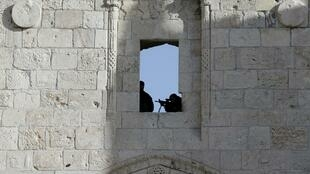 Israeli policemen at the Damascus Gate in Jerusalem's Old City