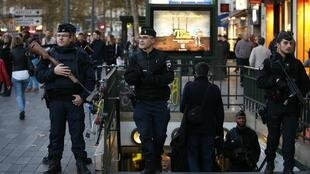 Police at the République metro station earlier this month