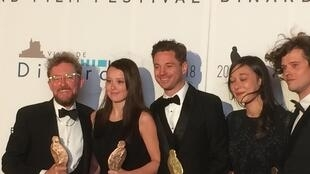 Team Jellyfish with their Hitchcock trophies after winning four awards at the 29th Dinard Film Festival, 2018