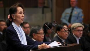 Myanmar's leader Aung San Suu Kyi speaks in a case filed by Gambia against Myanmar alleging genocide against the minority Muslim Rohingya population, at the International Court of Justice (ICJ) in The Hague, Netherlands December 11, 2019.