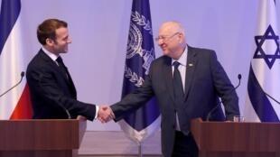 رؤسای جمهوری اسرائیل و امانوئل ماکرون در کنفرانس خبری اورشلیم