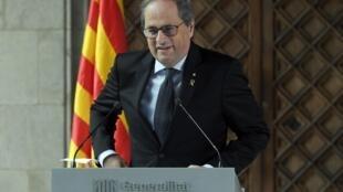 Le chef du gouvernement régional de la Catalogne, Quim Torra, au Palau de la Generalitat à Barcelone, le 29 janvier 2020.