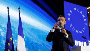 French President Emmanuel Macron attends the 'Tech for Planet' event at the 'Station F' start up campus ahead of the One Planet Summit in Paris