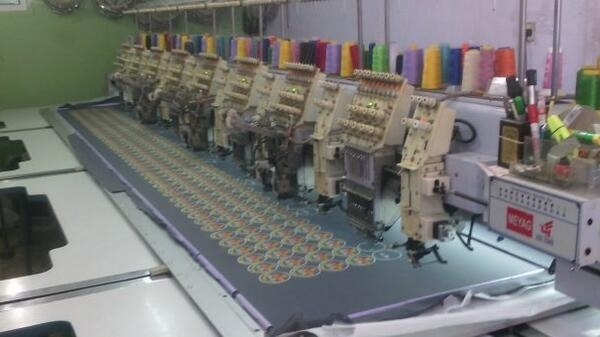 An embroidery machine at the Alustaz garment factory in Gaza.