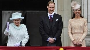 Balcón Buckingham Palace durante los festejos del jubileo de la reina Isabel II. El príncipe Guillermo y su esposa Catalina