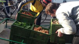 Des adhérents de la Garten Coop chargent des caisses de légumes sur un chariot avant la distribution.