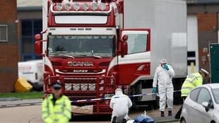Police at the scene where bodies were discovered in a lorry container, in Grays, Essex, Britain October 23, 2019.