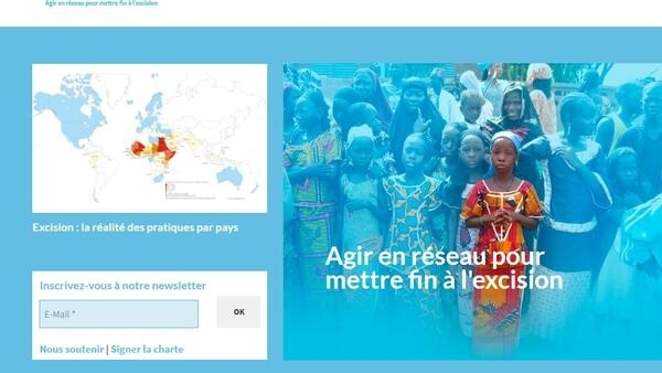 La page d'accueil du site internet de l'association «Excision, parlons-en !».
