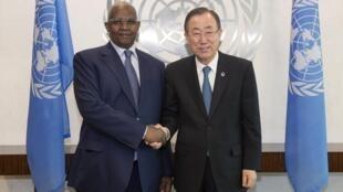 Kutesa with UN Secretary General Ban Ki-Moon, 9 April 2014