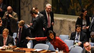 Jakadiyar Amurka a MDD Nikki Haley yayin jadada matsayin Amurka na ci gaba da ruwan wuta a Syria