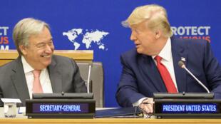 """聯合國秘書長古特雷斯與美國總統特朗普共同參加由美國發起的""""在全球呼籲維護宗教自由""""主題會議。2019年9月23日"""