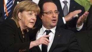 German Chancellor  Angela Merkel with French President François Hollande