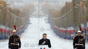 French President Emmanuel Macron delivers a speech during a commemoration ceremony for Armistice Day, 100 years after the end of the First World War, at the Arc de Triomphe, in Paris, France, November 11, 2018.