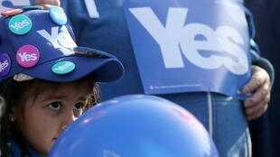 Chiến dịch vận động bỏ phiếu thuận trong cuộc trưng cầu dân ý tại Edinbourg, Scotland ngày 10/09/2014.